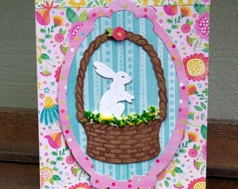 Easter Rabbit in a Basket Card