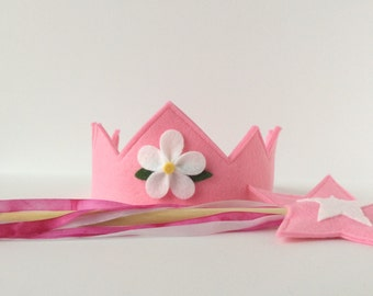 Wool Felt Crown and Wand-- silk and wood Fairy Child play set -- cotton candy pink with hand dyed silk streamers