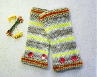 Yellow, Ivory, and Red Stripey Handknit Fingerless Gloves.  Pure Merino Wool.