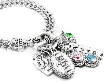 Mom's Birthstone Bracelet, Mother's Bracelet, Grandmother Jewelry, Sister Jewelry, Custom Jewelry Designs, Includes 6 to 11 Names