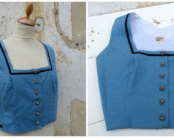 Vintage 1970/70s German / Austrian/Tyrol blue dirndl corset bustier top size M/L