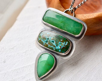 Chrysoprase Statement Necklace, Silver and Stone Pendant, Azurite Necklace, Large Pendant, Bezel Work, Metalsmith Jewelry, Green Stone