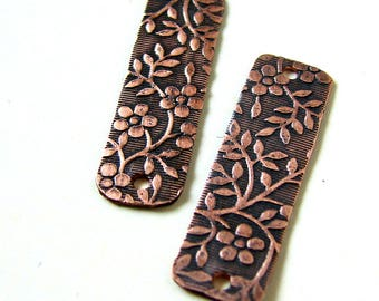 Rustic Etched Copper Earring Matchstick Charms