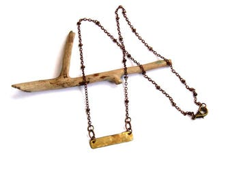 Brass Textured Rectangle on Copper Chain Necklace