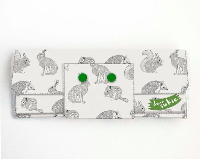 Vinyl Long Wallet - Forest Friends / woodland, rabbit, squirrel, tree, vegan, large wallet, clutch, card case, vinyl wallet, handmade