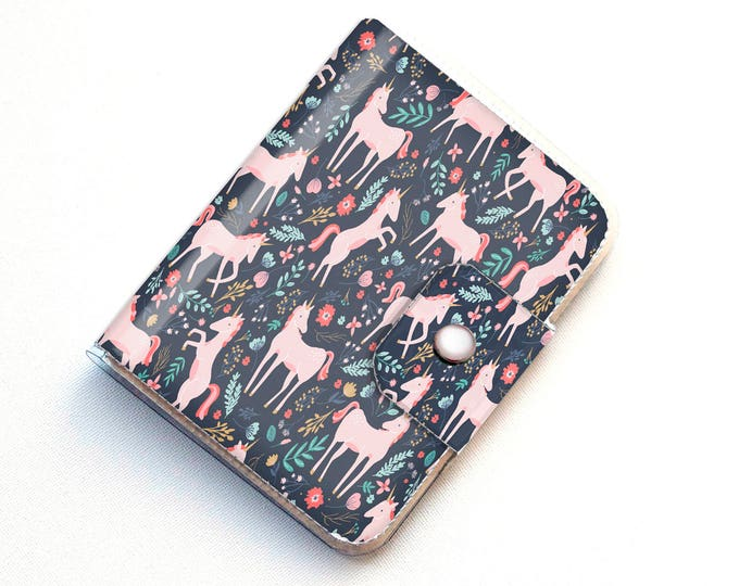 Vinyl Passport Case - Unicorn Forest / traveller, floral, magical, kids, childrens, flowers, pretty, passport, vinyl, gift, woman's, wallet