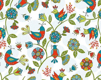Blue Dutch Main Birds in WHITE, Riley Blakes Dutch Floral Collection, Yard