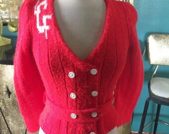 Vintage 1940s style Cardigan Sweater monogram orange letter PinUp Rockabilly S M 40s 70s