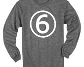 Sixth Birthday Long Sleeve Heather Black Kids T-Shirt