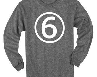 Sixth Birthday Long Sleeve Heather Black Kids T-Shirt