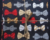 Red Black Bowtie Reversible Cloth Lunch Napkin Set