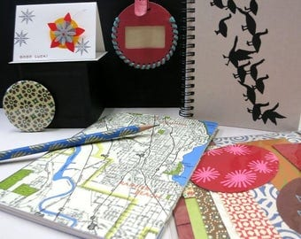 ON SALE! Stationary Set, spiral bound journal, map notebook, pencil, pocket mirror, scrap paper, leather luggage tag, card