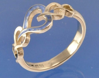 Cremation Ash Entwined Heart Ring - Sterling Silver