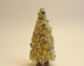 Vintage Style Bottlebrush Ivory Christmas Tree- Sparkly Swarovski Aquamarine Blue Crystals- Mica Flakes Snow