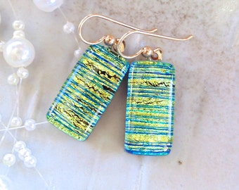 Gold Dichroic Glass Earrings, Fused Glass Jewelry, Gold Filled, A13