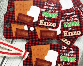 Smores Camping Favor Tags, S'mores Favors, Camping Birthday Party, Birthday party tags, favor tags, gift tags, S'more, Campfire, hang tags