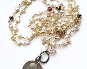 Vintage Love Token Necklace - Mixed Metal featuring Pearls and Gemstones - Opera Length