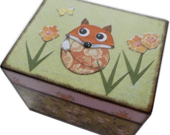 Recipe Box, Wooden, Decoupaged, Bridal Shower, Decorative, Holds 3x5 Cards, Fox Recipe Box, Storage, Kitchen Decor, MADE TO ORDER
