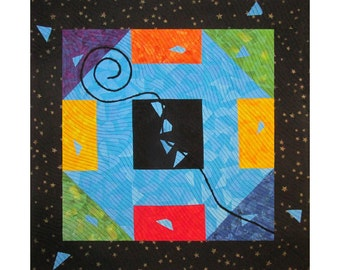 Colorful Abstract Art Quilt, Fabric Wall Hanging, Fiber Art, Traditional Churn Dash Block