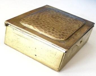 Vintage brass postage stamp box Gesch Australia mirror postal Arts Crafts hammered desk accessory home decor antique