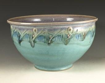 Ceramic food prep bowl ,  turquoise aqua handmade