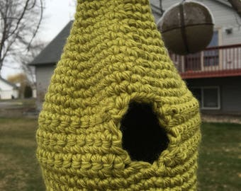 Green Birdhouse - Wool crocheted