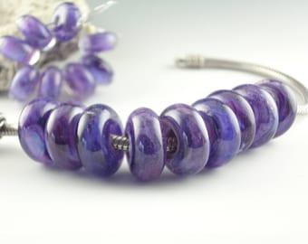 Lampwork Glass bead, Big Hole Bead, Slider Bead, BHB, Euro Style Charm Bracelet, charm focal bead, Euro Charm Bead, Purple Rain, Dread