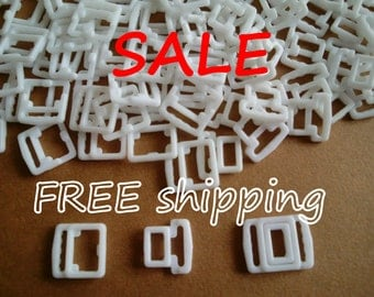 FREE ship SALE 200 White Square 9mm Bikini Clips by Merckwaerdigh