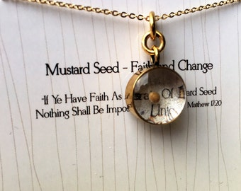 MUSTARD Seed Charm strung on A Gold Plated Chain, Gold Necklace, Vintage Style Charm - Faith and Change - Mustard seed Pendant