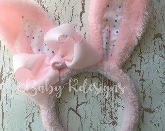 Baby Boy Girl Easter Bunny Headband. First Easter Bunny Headband Pink Bow Hair Clip #babykdesigns Poseable Bunny Ears and Baby Bow #Easter