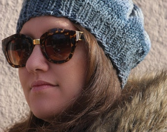 My Favorite Hat - handknit faded jeans wool slouch
