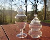 Two Vintage Glass Storage Jars/ Candy Jars - Clear Glass Lidded Jars - Kitchen/ Bath Storage