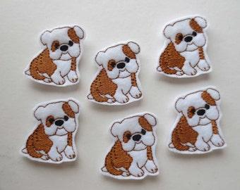 Bulldog Puppy Felt Embroidered Embellishment -Bulldog Feltie - 443