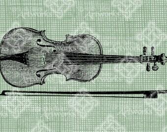 Digital Download, Violin and Bow, Musical Instrument, Antique Vintage Illustration, Transparent png, Digi Stamp, Iron on Transfer