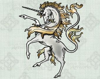 COLOR Digital Download, Unicorn on Hind Legs Horse, Mythological Creature digi stamp, Vintage illustration, Digital Transfer, Fantasy