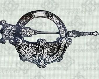 COLOR Digital Download, Tara Brooch Celtic Scottish Jewelry, digi stamp, digis, digital stamp, Antique Illustration, Transparent png