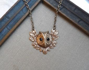 75% Off Guardian Owl with Black Swarovski Crystal Eyes, Brass Ox