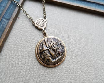 Antique Brass Button Necklace, Windmill