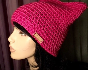 SALE Small Pink Pussy Hat Women's Cat Hat Feminist Hat Valentines Pussycat Pink Hat  Womens Tam Crochet Hat
