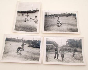 4 Vintage Photographs - Sailors Playing Baseball - 1950s - Navy - Military Ephemera - Candid Snapshots - Sports