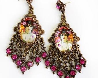 Empress earrings, Tarot earrings, hot pink earrings, vintage image earrings, boho jewelry, boho chandelier earrings, pink earrings, orange