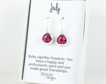 Tiny July Birthstone Silver Framed Dangle Earrings, Ruby Silver Earrings, Ruby Birthstone Earrings, July Birthday Gift, Bridal Earrings