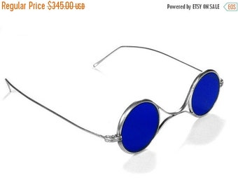 Steampunk Goggles Vintage American Optical Steampunk Glasses COBALT BLUE Tinted Glass, Steam Punk Goggles EXQUISITE by edmdesigns