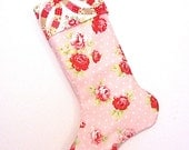 Pink Rose Polka Dot Stocking, Christmas Stocking, Tanya Whelan Fabric, Country Cottage Stocking