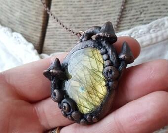 Electroformed Golden Labradorite Mushroom Necklace/Electroplated Copper Gemstone/Enchanted Jewelry/Faerie Mushrooms/Heirloom Jewelry