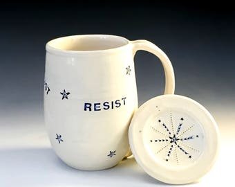 Resist Coffee Mug with Lid, Protest Pottery Mug with Cover, Lidded Coffee Mug, Activism Art