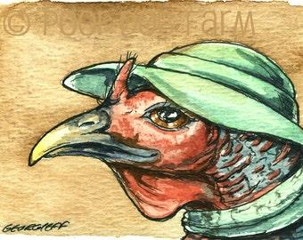 Lady Turkey Neck - Original ACEO Painting
