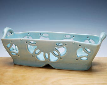 Pierced rectangular basket in Frost, Rose window pattern, Handmade porcelain Victorian modern