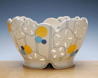 Large Floral pierced fruit bowl in Ivory w. Orange & Blue polka dots, Handmade Victorian modern