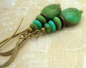Rustic Turquoise Earrings in Blue and Green Glass Beads in a Stacked Zen Style